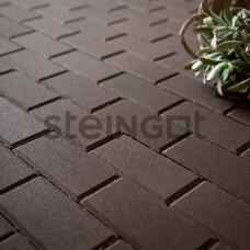 """Тротуарная плитка Брусчатка Steingot """"Прямоугольник""""  200*100*60 Темно-коричневая (верхний прокрас)"""